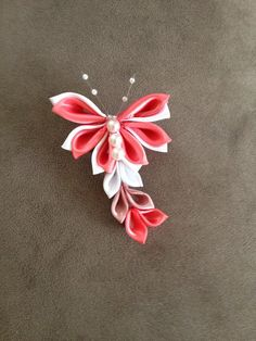 Kanzashi Butterfly Hair Clip by BonBonBotique on Etsy, $7.99