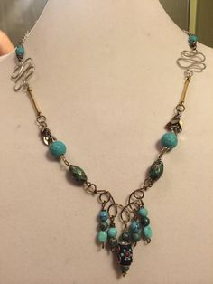 30 inch Turquoise Mixed Metal Necklace by PCMRNTREASURESJEWELS
