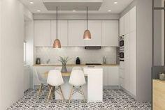 35 elegant white kitchen design ideas for modern home 1 New Kitchen, Kitchen Dining, Kitchen Decor, Style Deco, Apartment Kitchen, Interior Design Living Room, Home Kitchens, Kitchen Remodel, Sweet Home