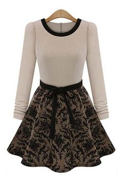 So CUTE! Love the Ribbon!  Love this Dress! Black and White Flowers Print O-neck Long Sleeve Dress!