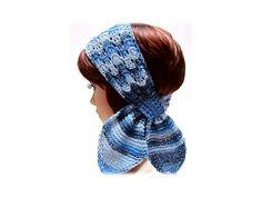 denim blues scarf headband head wrap wool blend 'Denim Lace' variegated blues ear warmer trendy boho  - pinned by pin4etsy.com