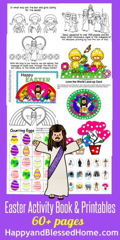 Easter Activity Book and Printables - over 60 pages with coloring, puppets, Easter egg stuffers, counting, sorting, matching and more. From HappyandBlessedHome.com