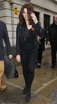All black everything: Nigella Lawson stepped out after visiting BBC Broadcasting House in London on Friday in head-to-toe black