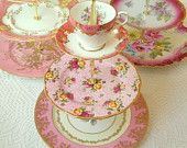 Alice Dresses Up in Gold Pink China Cupcake by HighTeaForAlice