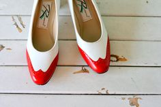 Vintage MAD MEN Red and White Heels...size  7 by retroandme