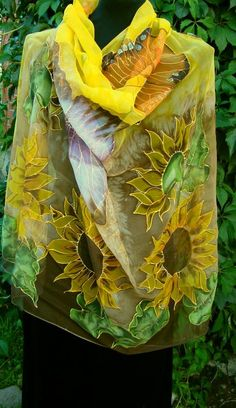 Natural silk shawl  floral butterfly yellow by Studijakalla, $266.00