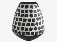 FERNANDA BLACK Ceramic Black & white patterned ceramic vase - HabitatUK