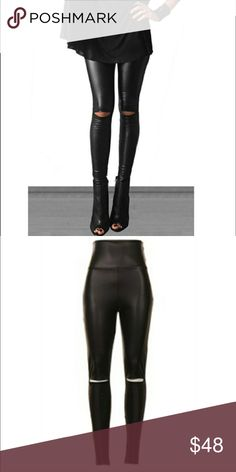 Leather Open Knee Legging The most on point trend for fall 2016. The open knee cut faux leather legging is sexy and chic with a touch of outstanding class. These are perfect as a fall wardrobe edition. True to size. Material context: 92% polyester, 8% spandex blend. Comes in small, medium, and large. Fashionomics Pants Leggings