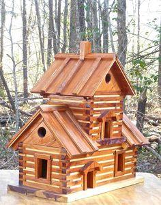 """Huge Cedar Log Cabin BIRDHOUSE Condo < 24"""" x 24"""" #Handcrafted"""