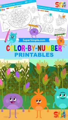 Practice colors and numbers with the Bumble Nums! Free for download. Toddler Snacks, Toddler Preschool, Preschool Ideas, Coloring For Kids, Food Coloring, Coloring Sheets, Coloring Pages, Art For Kids, Crafts For Kids