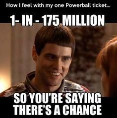 Or Mega Millions, since the Powerball went up to two dollars a ticket. If I spend two dollars, I give myself ONE MORE chance. XD