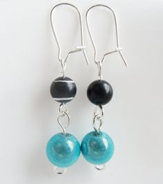Black White and Teal Round Bead Earrings by TheRaspberryBasket