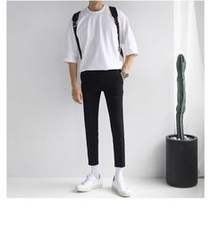 Buy Real Boy Short-Sleeve Crewneck T-Shirt Stylish Mens Outfits, Casual Outfits, Fashion Outfits, Korean Fashion Men, Fashion For Boys, Mens Clothing Styles, Minimalist Fashion, Menswear, Ootd For Men