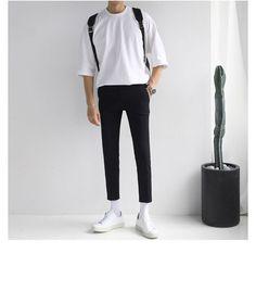 Buy Real Boy Short-Sleeve Crewneck T-Shirt Stylish Mens Outfits, Casual Outfits, Men Casual, Korean Fashion Men, Mens Fashion, Streetwear Fashion, Male Streetwear, Mens Clothing Styles, Minimalist Fashion