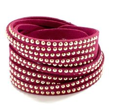 Metal Studded Wrap-Over Bracelet / Color: Gold/Fuchsia / AZBRLB024-FUC  Price : $25.00 http://www.arrascreations.com/Metal-Studded-Wrap-Over-Bracelet-Color/dp/B00HY5N0PG