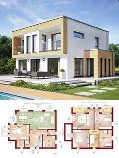 Bauhaus Stadtvilla Neubau modern mit Flachdach Architektur - Haus bauen Grundriss Einfamilienhaus Evolution 154 V8 Bien Zenker Fertighaus Ideen - HausbauDirekt.de