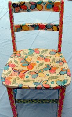 whimsical butterfly design on hand painted chair