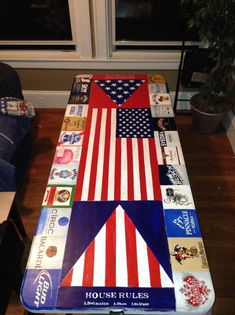 17 Creative Painted Beer Pong Table Ideas - Page 15 of 17 Birthday Table, 21st Birthday, Birthday Cakes, Custom Beer Pong Tables, Frat Coolers, Fraternity Coolers, Diy Table, Diy Painting, Cooler Painting
