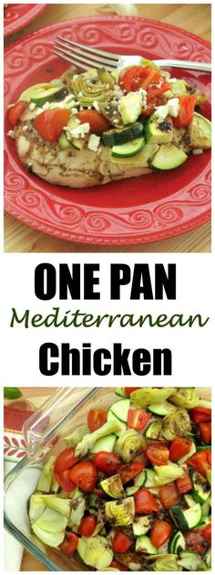 Crazy Good Mediterranean Chicken Bake uses just one pan and takes minutes to prep. It's low-carb, keto-friendly, gluten-free and full of healthy vegetables! Mediterranean Chicken Bake, Mediterranean Diet Recipes, Easy Chicken Recipes, Healthy Dinner Recipes, Healthy Food, Healthy Eating, Healthy Options, Healthy Chicken, Clean Eating