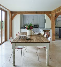 Barns & Contemporary - Border Oak - oak framed houses, oak framed garages and structures. Open Plan Kitchen Dining Living, Fine Dining, Oak Framed Extensions, Border Oak, Oak Framed Buildings, Oak Frame House, Contemporary Cottage, Dinning Table, Dining Area