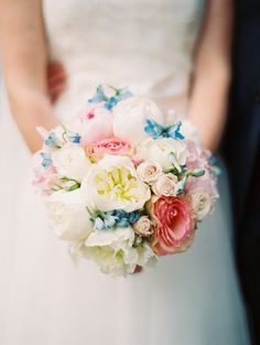 pink and blue bouquet featuring peonies and roses by Flowers on Chestnut