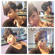 "Hey it's me, Shaunda! Here's a "" hair by shaunda"" photo lol I cut my hair for my birthday! Never been this short before! YA like???? Lol! Check me out! (Salon Cass, 414-276-2277) www.styleseat.com/HairbyShaunda"