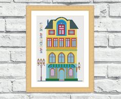 """Who doesn't love Amsterdam buildings? """"Love Amsterdam"""" is second in cities series. (First is London, you can see it here: https://www.etsy.com/listing/209253578/modern-cross-stitch-patterns-love-london? ) This counted cross stitch pattern is very colourful and modern. Perfect for beginners as it has only 15 colours in it! It is also very easy to stitch. Suitable for any room in your home. 6,99$"""