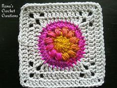 "Nana's ""Puff Circle Square"" - free crochet pattern by Des Maunz / Nana's Crochet Creations. https://m.facebook.com/notes/nanas-crochet-creations/nanas-puff-circle-square/790417241043343"