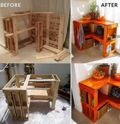 his is another thought-provoking project of the reclaimed wooden pallet in the formation artwork of the pallet corner shelf cabinet. You will definitely find it the best pallet idea for the renovation and refurbishing of your simple corners.