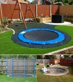 A sunken trampoline is safer for kids and looks really cool! A sunken trampoline is safer for kids and looks really cool! Home Designs Trampolines, Sunken Trampoline, Trampoline Ideas, Backyard Trampoline, Trampoline Chair, Backyard Zipline, Zip Line Backyard, Backyard Camping, Kid Spaces