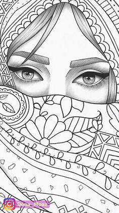 Adult coloring page girl portrait and clothes colouring sheet fashion pdf printable anti-stress relaxing zentangle line art - - Outline Drawings, Cool Art Drawings, Pencil Art Drawings, Art Drawings Sketches, Tattoo Drawings, Tattoos, People Coloring Pages, Printable Coloring Pages, Adult Coloring Pages