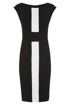 Black   Ivory Bandage Dress Optical Illusion Dress 409611975
