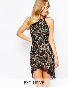 Image 1 of Ginger Fizz Fine Romance Dress In Eyelash Lace With Dip Hem