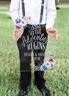 Wedding Sign Clear Acrylic Glass Look Sign Personalized Names