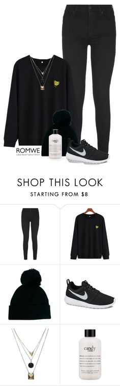 """""""Banana Embroidered Black Sweatshirt- ROMWE"""" by pinkbuttons85 ❤ liked on Polyvore featuring 7 For All Mankind, ASOS, NIKE, Gathering Eye and philosophy"""