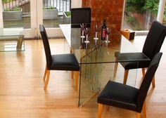 Glass Dining Table X Shape