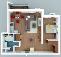 """One Bedroom Ideas 50 one """"1"""" bedroom apartment/house plans 