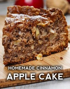 Apple Cake Cinnamon Apple Cake – Delicious recipes to cook with family and friends.Cinnamon Apple Cake – Delicious recipes to cook with family and friends. Apple Cake Recipes, Apple Desserts, No Bake Desserts, Just Desserts, Delicious Desserts, Yummy Food, Cooking Apple Recipes, Apple Cakes, Cooking Tips