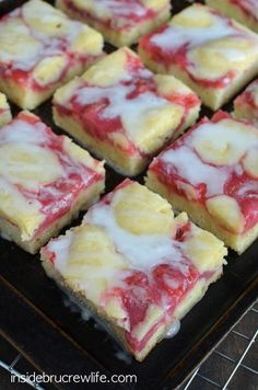 Strawberry Lemon Snack Cake - a delicious snack cake made with strawberry pie filling and topped with a lemon glaze