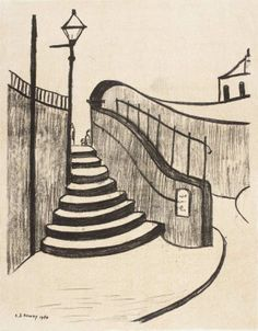 S Lowry: Old Steps, Stockport Date Medium Lithograph on paper Salford, Claude Monet, Vincent Van Gogh, Stockport Uk, English Artists, Naive Art, Art Sketchbook, Landscape Art, Illustration Art