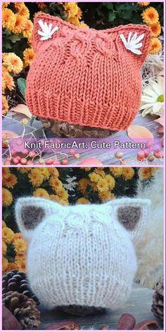Knit Fox Ears/Cat Ears Beanie Hat Knitting Pattern – Crochet and Knitting Patterns Baby Hat Knitting Pattern, Baby Hats Knitting, Knitting For Kids, Knitting Projects, Free Knitting, Knit Beanie Pattern, Simple Knitting, Knitting Needles, Crochet Fox