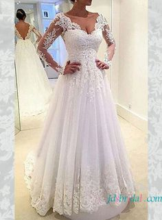 casual white tulle wedding dress with illusion long sleeves and v shaped low back
