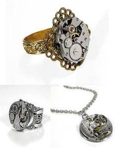 Steampunk jewelry!  With a watch repair shop on site, there is no end to the amount of watch movements that are up for use!  I love the idea of showcasing these intricate works of art in a piece of jewelry!