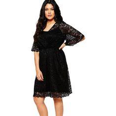 Black 2Pcs Plus Size Midi Dress LAVELIQ Material: Polyester+Spandex Size: (Us 14-16)Xl,(Us 18-20)Xxl,(Us 22-24)Xxxl Color: Black   Style: Brief, Cute Occasion: Summer