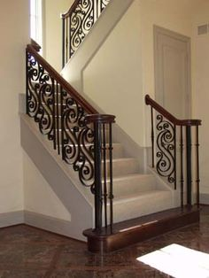 WOOD STAIRCASE SCROLL IRON BALUSTERS - Google Search