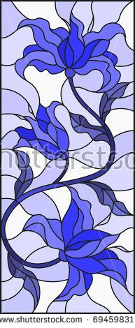 Illustration in stained glass style with abstract  swirls,flowers and leaves  on a light background,gamma blue