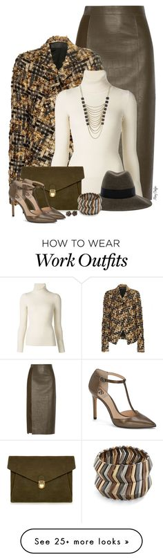 """Pumpkin Spice & Sage"" by mcheffer on Polyvore featuring Jason Wu, Haider Ackermann, Emanuel Ungaro, J.Lindeberg, Maison Michel, Vince Camuto, Mystique, Chanel and Lane Bryant"