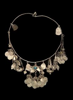 Iran | Women's necklace; silver and glass.  ca. 1970 or earlier. // ©Quai Branly Museum. 71.1970.94.23