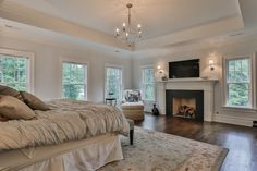 Traditional Master Bedroom with Nourison PE22 Persian Empire Area Rug - Ivory (7.9 x 10.10 ft.), Crown molding, Pendant Light