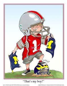 """Limited Edition OSU Buckeye Sports Art Print - """"That's my Boy!"""""""
